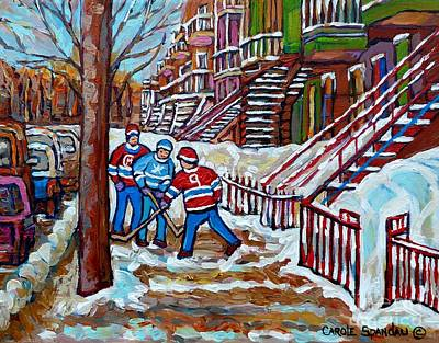 Painting - Streets Of Montreal Hometown Hockey Game Wintry Winding Staircases Canadian Art Carole Spandau       by Carole Spandau