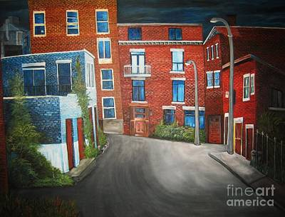 Brick Buildings Painting - Streets Of Montreal  Joly by Reb Frost