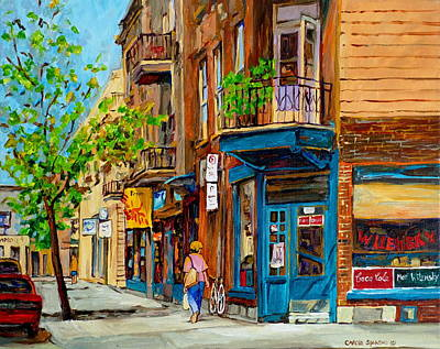 Wilensky Painting - Streets Of Montreal Over 500 Prints Available By Montreal Cityscene Specialist Carole Spandau by Carole Spandau