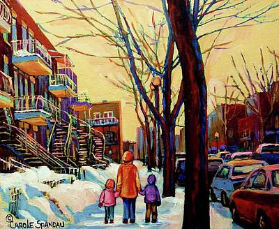 Streets Of Montreal Rue Debullion  Winter In The Plateau Print by Carole Spandau