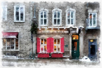 Painting - Streets Of Old Quebec City Upper Town Storefront Watercolor by Edward Fielding