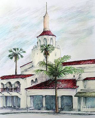 Drawing - Streets Of Santa Barbara- Arlington Theater Santa Barbara by Danuta Bennett
