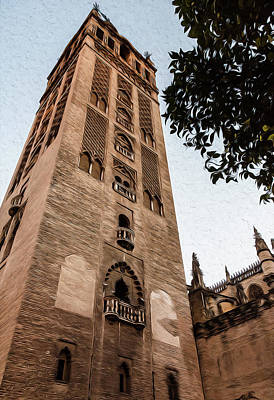 Painting - Streets Of Seville, Giralda - 01 by Andrea Mazzocchetti