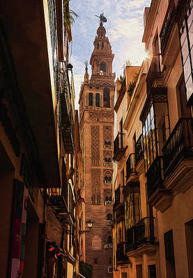 Painting - Streets Of Seville, Giralda - 02 by Andrea Mazzocchetti