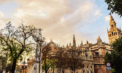 Painting - Streets Of Seville, Giralda - 04 by Andrea Mazzocchetti