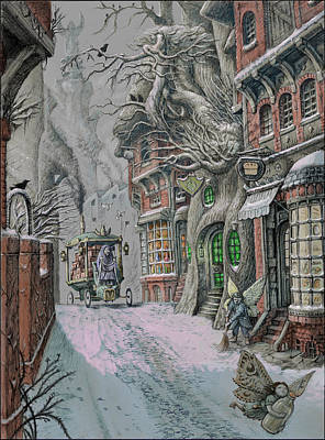 Snowscape Drawing - Streets Of Suidemor by Tony Hough