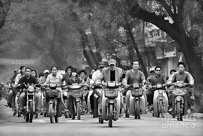 Photograph - Streets Pano Vietnamese Motorcycles  by Chuck Kuhn