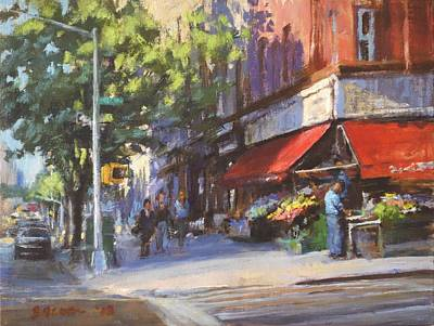 Streetscape With Red Awning - 82nd Street Market Art Print