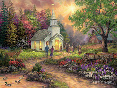 Church Painting - Strength Along The Journey by Chuck Pinson