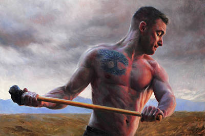 Torso Painting - Strength And Stormclouds by Anna Rose Bain