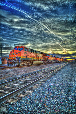 Photograph - Strength In Numbers S N S F Locomotive 3734 Gallup New Mexico Train Art by Reid Callaway