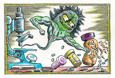 Medicine Bottles Painting - Strength Of The Virus by Leon Zernitsky