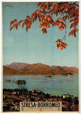 Royalty-Free and Rights-Managed Images - Stresa Borromeo - Maggiore Lake, Italy - Retro travel Poster - Vintage Poster by Studio Grafiikka