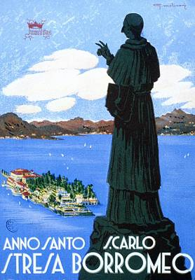 Royalty-Free and Rights-Managed Images - Stresa Borromeo - Monument Looking down on the Town - Retro travel Poster - Vintage Poster by Studio Grafiikka
