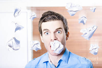 Fury Photograph - Stressed Office Employee With Scrunched Up Paper Document In Mouth. Work Disaster by Jorgo Photography - Wall Art Gallery