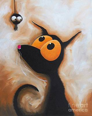 Stressie Cat And The Tiny Spider Original by Lucia Stewart