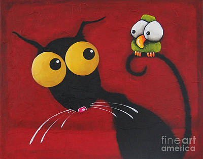 Cat Tail Painting - Stressiecat And The Bird by Lucia Stewart