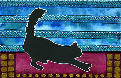 Painting - Stretch And Go - Black Cat Card by Dora Hathazi Mendes