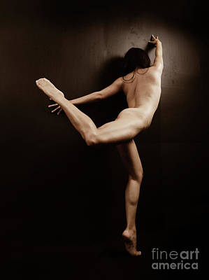 Stretching And Flexing In The Nude - 3019cr Art Print by Cee Cee - Nude Fine Arts