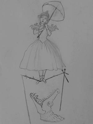 Haunted Mansion Drawing - Stretching Portrait Tightrope Walker by Patricia Thomas