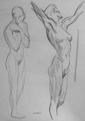 Drawing - Stretching by Robert Holden