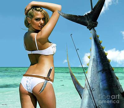Justin Verlander Photograph - Strike A Pose,' Kate Upton, Trophy Yellowfin Tuna, 50 Lb Test Line, Mako Point, Fl by Thomas Pollart