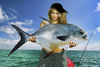 Detroit Tigers Mixed Media - Strike A Pose,' Kate Upton, Trophy Permit Fish, Key West, Fl, 20lb Test Line by Thomas Pollart