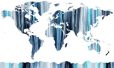 Painting - Striking Blue World Map  by Irina Sztukowski