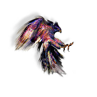 Digital Art - Striking Raptor by Iowan Stone-Flowers