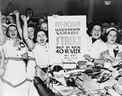 Striking Women Employees Of Woolworths Print by Everett