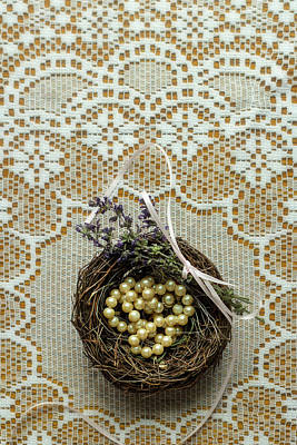 Photograph - String Of Pearls In A Bird's Nest On Lace by Eleanor Caputo