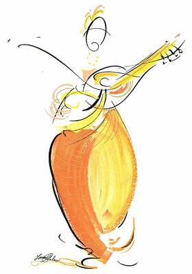 String Player In Orange Art Print