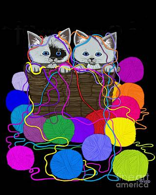 Digital Art - String Theory Cats by Nick Gustafson