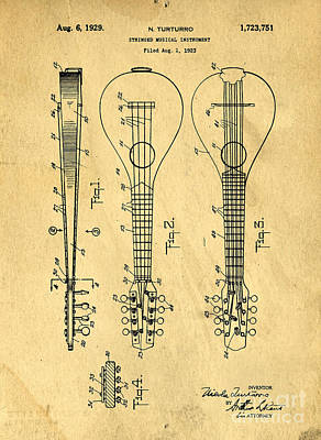 Stringed Musicial Instrument Patent Art Blueprint Drawing Art Print by Edward Fielding