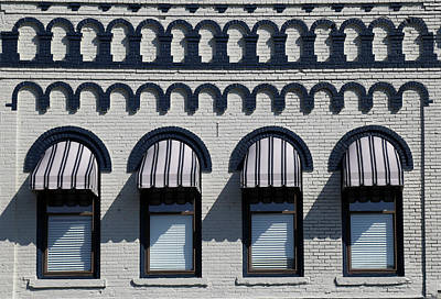 Photograph - Striped Awnings 092417 by Mary Bedy