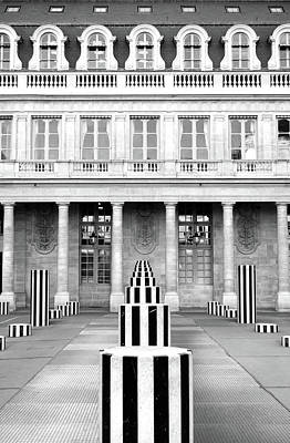 Photograph - Striped Columns Of The Palais Royal Courtyard In Paris France Black And White by Shawn O'Brien