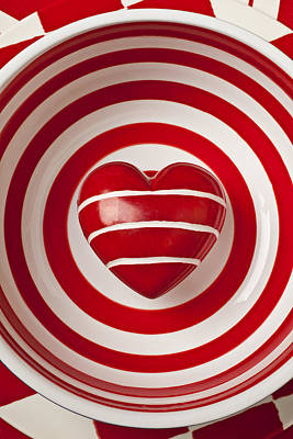 Striped Heart In Bowl Art Print by Garry Gay
