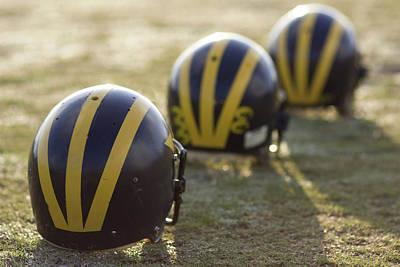 Photograph - Striped Helmets On A Yard Line by Michigan Helmet