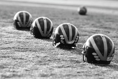 Photograph - Striped Helmets On The Field by Michigan Helmet