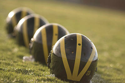 Photograph - Striped Helmets On Yard Line by Michigan Helmet