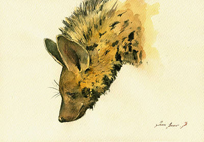 Spotted Painting - Striped Hyena Animal Art by Juan  Bosco