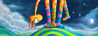 Colorful Sky Digital Art - Striped Socks - Revisited by Tooshtoosh