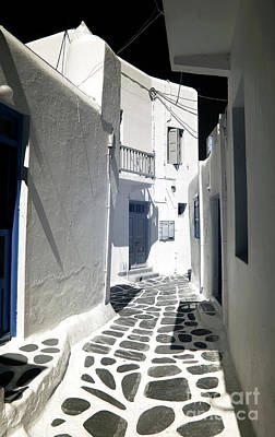 Photograph - Striped Street In Mykonos Infrared by John Rizzuto