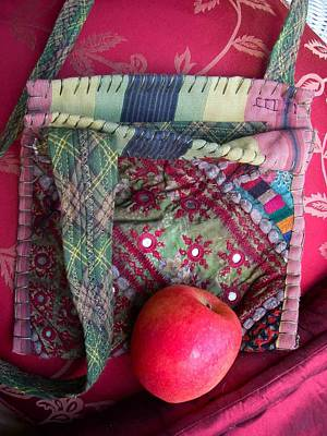 A Hand Mirror Tapestry - Textile - Striped Tie  Mirrored Nomadic Bag by Krisha Fairchild