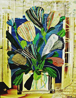 Tulips Mixed Media - Striped Tulips At The Old Apartment by Sarah Loft