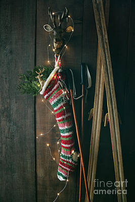 Photograph - Striped Wool Stocking With Old Skis And Sparkling Lights by Sandra Cunningham