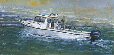 Trolling Painting - Trolling For Stripers by Brendan  Quirk