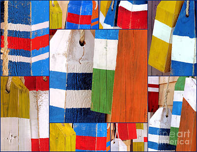 Photograph - Stripes And Solid Buoys  by Janice Drew