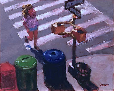 Painting - Stripes -- Crossing Broadway by Peter Salwen
