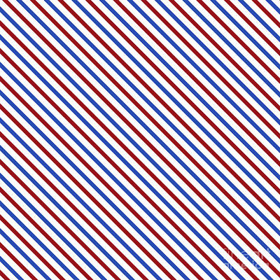 Digital Art - Stripes Diagonal Carmine Red Cobalt Blue Simple Modern by Beverly Claire Kaiya